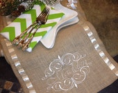 Burlap Monogram Burlap Personalized Monogram Embroidered and Ribbon Table Runner - Family name and Scrolls