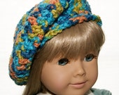 Slouchy Hat, Beret Style for American Girl Doll, 18 inch Doll, Crochet, Tam for Doll, Doll Beanie