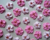 Royal icing cherry blossoms  -- Cake decorations cupcake toppers edible (24 pieces)