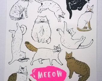 Meeow Meeeeow handmade screen print