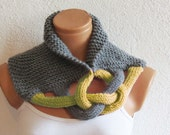 Braided Cowl, Scarflette, Neckwarmer, Gray Mustard Infinity Scarf Knitted Chunky Scarf, Woman Accessory, Gift For Her, Knit Chain Cowl, Cozy