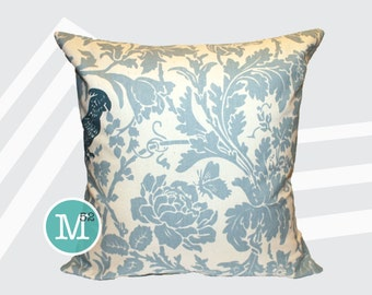 Village Blue Bird Pillow Cover Sham - 20 x 20 and More Sizes - Zipper Closure