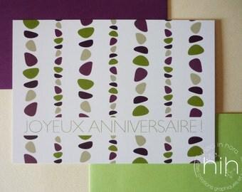 lot 2 cartes / galet /  'joyeux anniversaire'