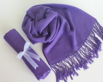 PURPLE PASHMINA SCARF . Pashmina Shawl. Pashmina. Wedding favors. Bridesmaids gifts. Bridal Shawl