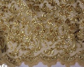 gold lace fabric, gold lace , alencon lace in gold, wedding dress lace, gold fabric lace, fabric by yard
