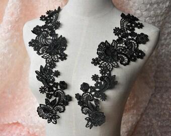 black lace applique,black venice lace applique, costume design ,Jewelry design, rose lace applique