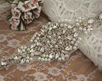 rhinestone and pearl bridal beaded applique, beaded pearl applique