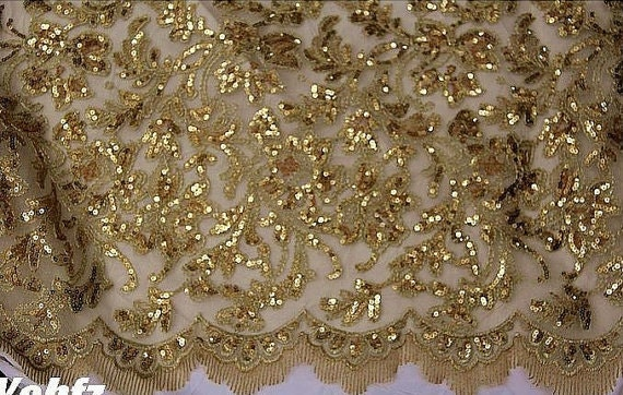 Gold Lace Fabric Gold Lace Alencon Lace In Gold Wedding