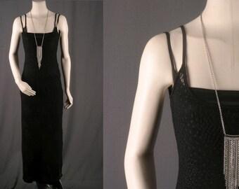 Black crochet maxi dress bohemian long women size S small