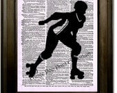 Roller Derby Art Print 8 x 10 Dictionary Page - Roller Skating Girl Silhouette Collage - Skater Skates