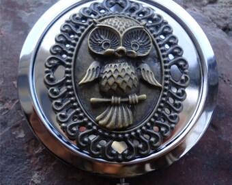 Owl Compact Mirror - Victorian Steampunk - Woodland Creature - Filigree - Make Up - Cosmetics - Pocket Mirror