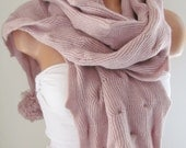 Knitted Long Scarf With Ponpon, Pink Scarf, Neck Warmer, Winter Accessories, Fall Fashion, Holiday Accossories,