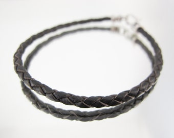 Bolo Braided Leather Bracelet  Dark Brown #612
