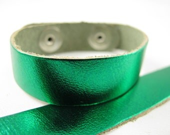 "Metallic Emerald Leather Cuff Bracelet 5/8"" Wide, #50-85831008"