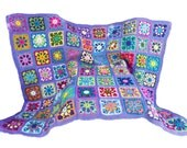 Crochet afghan kaleidoscope afghan granny square afghan, lavender border, READY TO SHIP