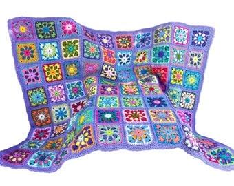 Crochet afghan kaleidoscope afghan granny square afghan, lavender border, READY TO SHIP