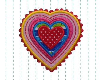 Rainbow Heart Iron on Patch Applique - Emboidery Patch
