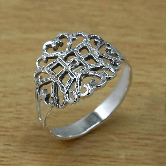 rustic model 925 sterling silver ring by handplayart