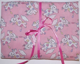 Pack n Play Sheet - Fitted Cotton Playard Sheet -  Retro Pink Moo Cow