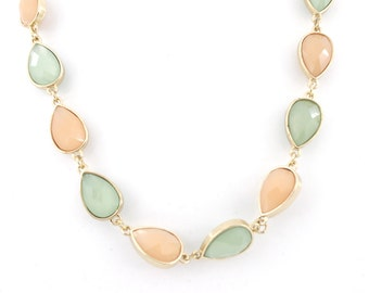 Gorgeous Gold-tone Fruit Green and Orange Pink Faceted Beads Necklace,M1