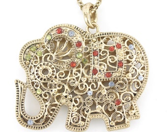 Gold-tone Double Sides Full Crystal Cute Hollow Elephant Necklace