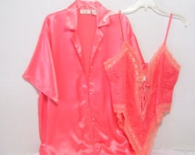 SALE Take 30% Off  Peignoir Set Victoria Secret Boyfriend Shirt Designed Short Robe Matching French Lace Teddy / Gown Coral Orange Tangerine