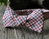 Men's Tie- Red, White & Blue Tattersall