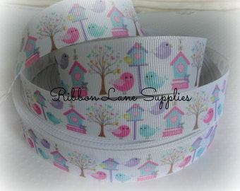 NEW Ribbon by the Yard 7/8 Springtime Birds -Love Birds-Pink Blue treehouse grosgrain Hair bows WHolesale by Ribbon Lane Supplies