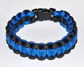 Standard Paracord Survival Bracelet - Blue/Black