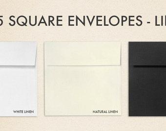 5 x 5 Square Envelopes – Linen - Pick A Color - Quantity of 50