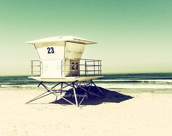 Lifeguard Tower  Tower 23  Pacific Beach San Diego  Beach House Decor  Sea Green  Home & Office Wall Art  10x10 Wall Art fpoe