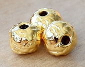 3 pcs Mykonos Ceramic Beads, 24K Gold Plated, 12mm Textured Round Large Hole - eM12PRG