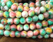 Mountain Jade Beads, Spring Mix, 6mm Round - 15 Inch Strand - eMCJ-104-6
