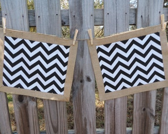 Burlap and Black/ White Chevron Placemats-Set of Two (2)