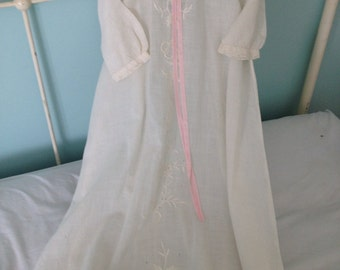 Vintage cream large   Ecru and pink Old Cotton girls baby christening blessing dress