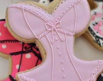 Corset, Lingerie Bridal Shower Cookie Favors - 12 Pcs, Wedding Cookies,  Bridal Shower Cookies
