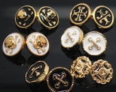 6 pcs 0.43~0.49 inch Small Retro Gold Black/White Hollow Metal Shank Buttons for Shirts