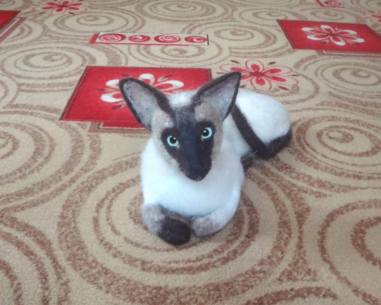 Oriental Siamese Cat Life Size Needle Felted Sculpture Oriental Cat Lifespan