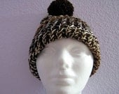 Brown Knitted Child Brim Hat with Pom Pom
