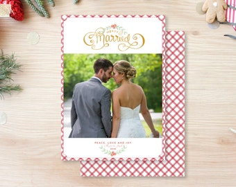 Merry and Married Newlywed Christmas Card - Gold Handlettered Calligraphy Buffalo Check Gingham Elegant Preppy Chic Unique Christmas Card