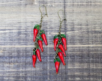 Red Murano Glass Peppers Earrings, Red Hot Peppers Earrings,  Hot Earrings , Antiqued  Bronze Earrings, Boho Style, Hippie Earrings
