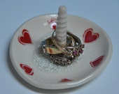 Ceramic ring holder dish,  red hearts, white glaze and melted glass on the bottom,  B-day gift