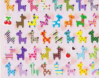 Korean Scrapbook Die-cut Stickers, Colorful patterned Giraffe (STNO050)