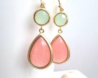 Coral Pink Gold earrings, Blush Pink Wedding Earrings, Drop, Dangle earrings, bridesmaid gifts, Gemstone,Wedding jewelry