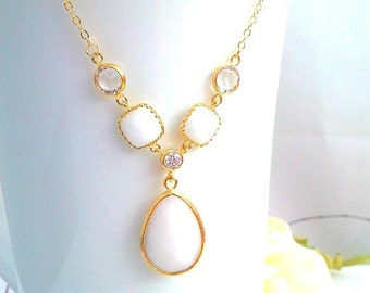 White Wedding Necklace, Statement Necklace, Pendant, Bridemaid Jewelry, white dangle earrings,  Choke,Bridemaid Gift