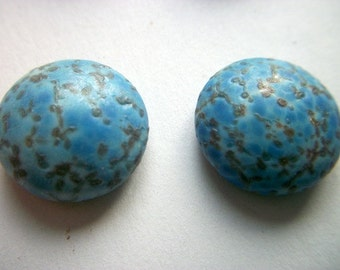 Vintage Blue With Black Speckles Handmade Cabochons x 2