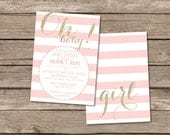 Oh Baby! Pink and Gold Baby Shower invitation