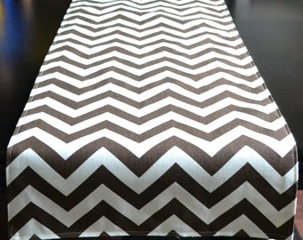 Premier Prints Table Runner Lined Brown Chevron- 15x72inches