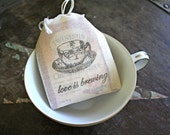 Wedding favor bags, muslin, 2x4. Set of 50. Love is Brewing with vintage teacup. Tea bag wedding party favors.