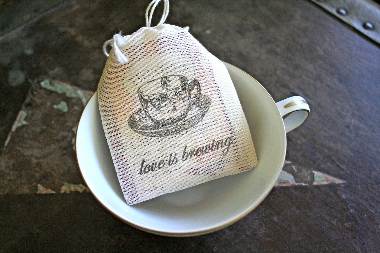 Wedding favor bags muslin 2x4. Set of 50. Love is Brewing
